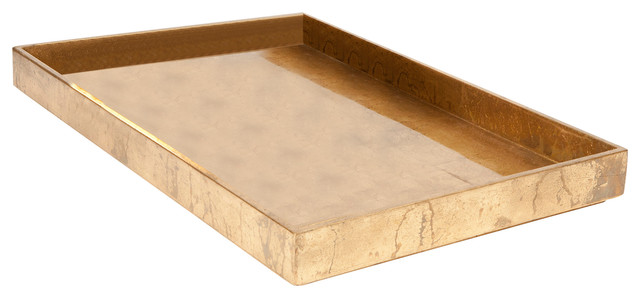 Luxe Gold Leaf Rectangle Tray Large Serving Trays By
