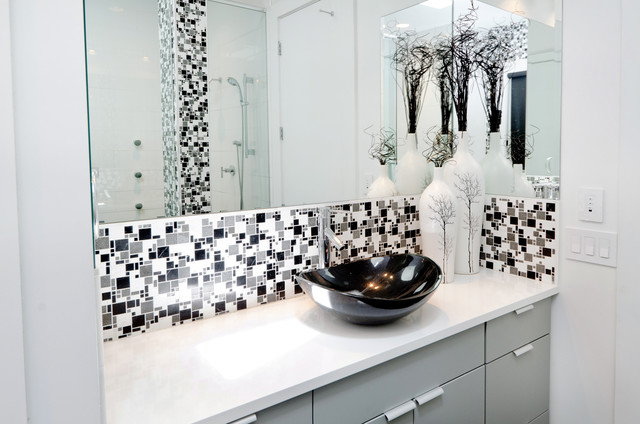 black white and grey bathrooms. Modern Minimal Black White And Grey Tile Bath Contemporary Bathroom