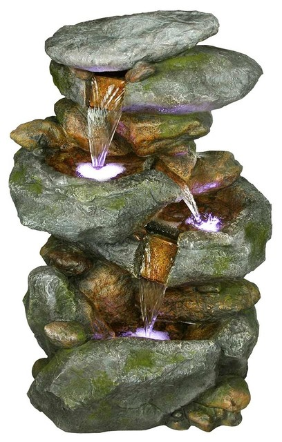 Alpine 4 Tiered Rock Waterfall Fountain With Led Lights