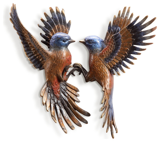 Metal Wall Plaque beautiful flight minivet birds pair wall plaque - tropical - metal