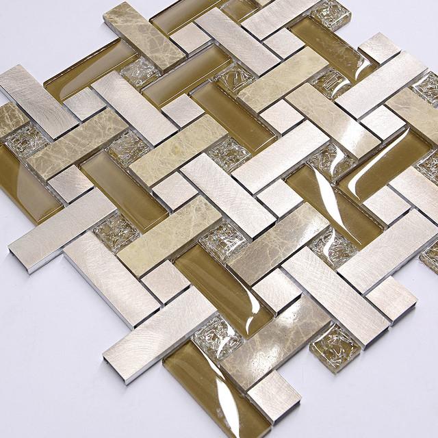 Brown Metal Glass Marble Modern Mosaic Kitchen Backsplash Tile Simple Modern Mosaic Tile Backsplash