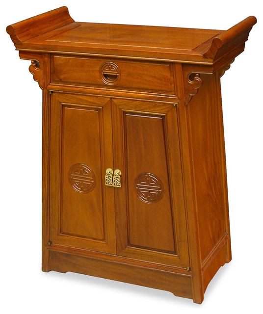 28in Rosewood Longevity Motif Altar Style Cabinet - Asian - Accent Chests And Cabinets - by ...