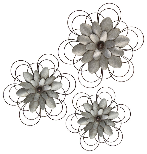 Metal Wall Flower Decor, Set of 3 - Rustic - Plants - by VIP ...