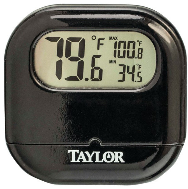 digital indoor outdoor thermometer black decorative thermometers by harvey haley. Black Bedroom Furniture Sets. Home Design Ideas