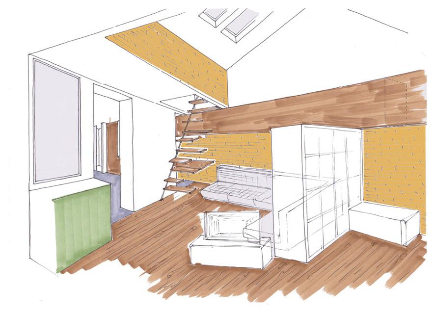 Bocetos de propuesta de mobiliario a medida.