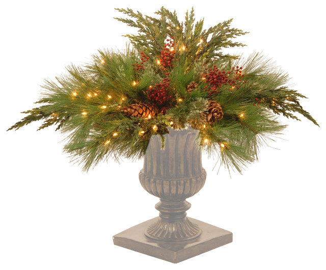 "30"" Decorative Collection White Pine Urn Filler With Clear Lights"