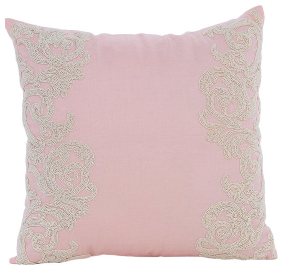 """Pink Beaded Floral Border 14""""x14"""" Cotton Linen Pillow Covers, Pink Inspire."""
