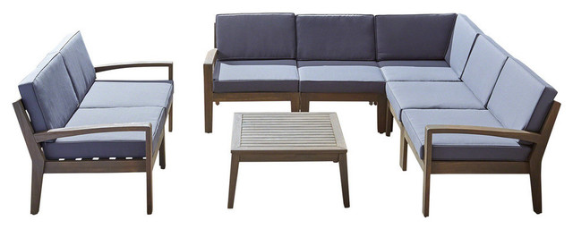 Maurice Outdoor Acacia Wood 7 Seater Sectional Sofa and Loveseat Set with Table