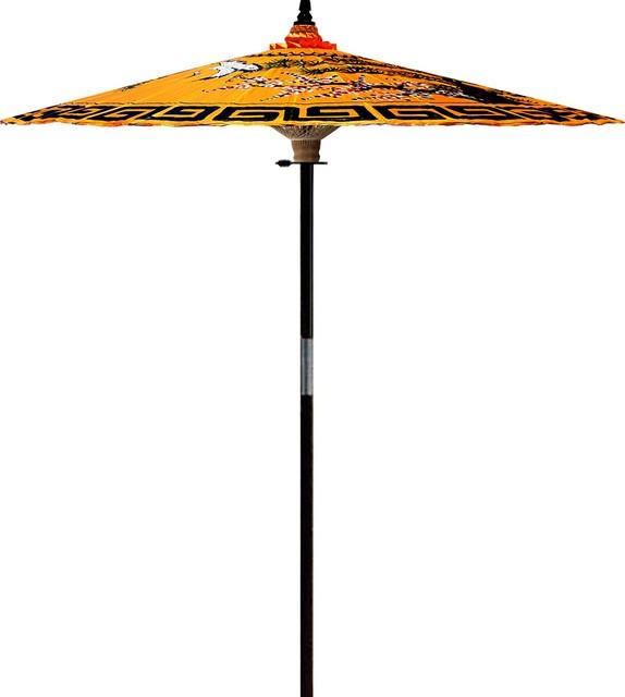 a982947e1499 Mirrored Cranes Outdoor Patio Umbrella, Golden Orange