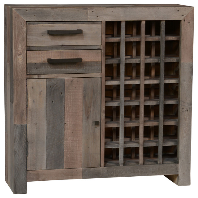 Foster Reclaimed Pine Bar Cabinet, Charcoal Rustic Wine And Bar Cabinets