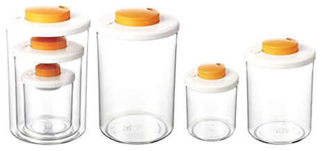 Round Press N Vac, 3-Piece Set, Tangerine.