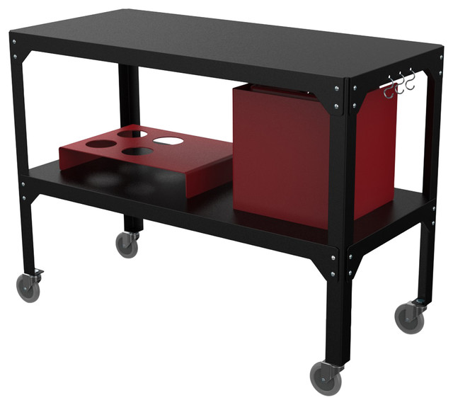Hegoa Outdoor Serving Trolley, Matte Black and Red