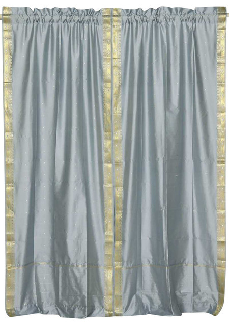 Gray Rod Pocket Sheer Sari Curtain, Drape And Panel, Pair, 43x84, No Lining.