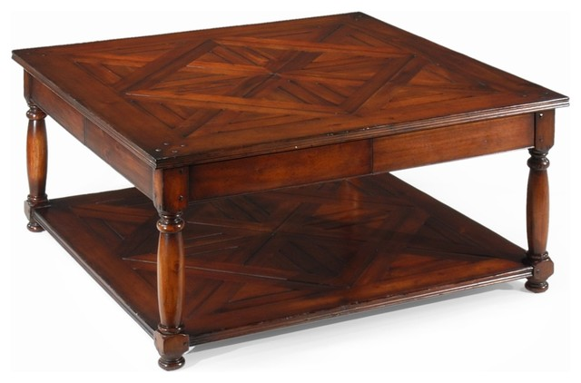Jonathan Charles Country Farmhouse Dark Walnut 42 Square Coffee Table  Traditional Coffee Tables