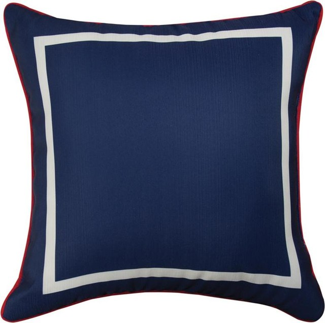 navy blue and white stripe 18 throw pillows red trim set of 2 traditional - Blue Decorative Pillows