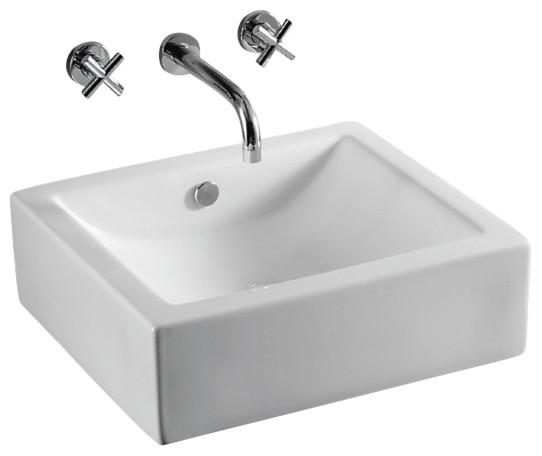 Rectangular Ceramic Vessel Bathroom Sink, White, No Hole contemporary ...