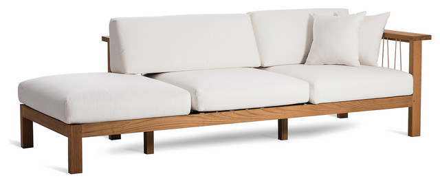 Maro Chaise Lounge Arm Right With Decorative Pillows, Canvas Natural, Right Arm.