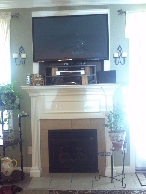 cable where how hide on fireplace cords to wall tv box put above mounted mount