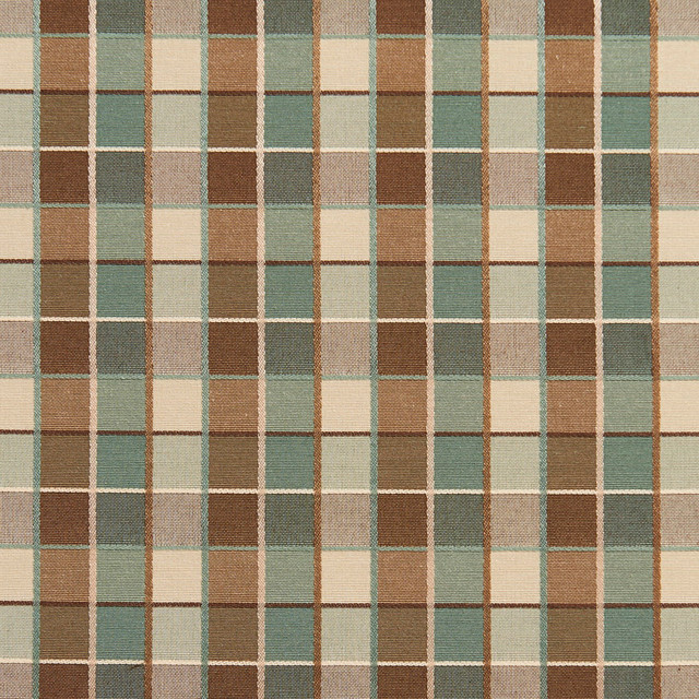 Teal Brown Cream Checkered Luxurious Faux Silk Upholstery Fabric ...