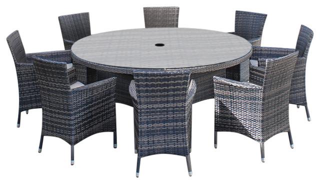 Rattan Garden Furniture Amelia 8 Seat 1 5 M Round Outdoor Dining Set Brown