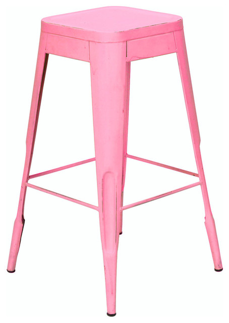 Felix   French Cafe Style Bar Stool - Pink Lightly Distressed