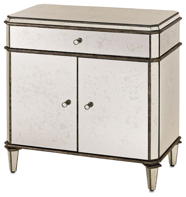 Hollywood Regency Antique Mirror Nightstand  transitional nightstands and bedside tables. Hollywood Regency Antique Mirror Nightstand   Transitional