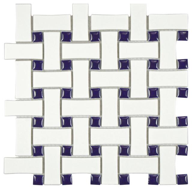 "10.5""x10.5"" Victorian Dog Bone Basket Weave Mosaic Tiles Set of 10, White/Cobalt"