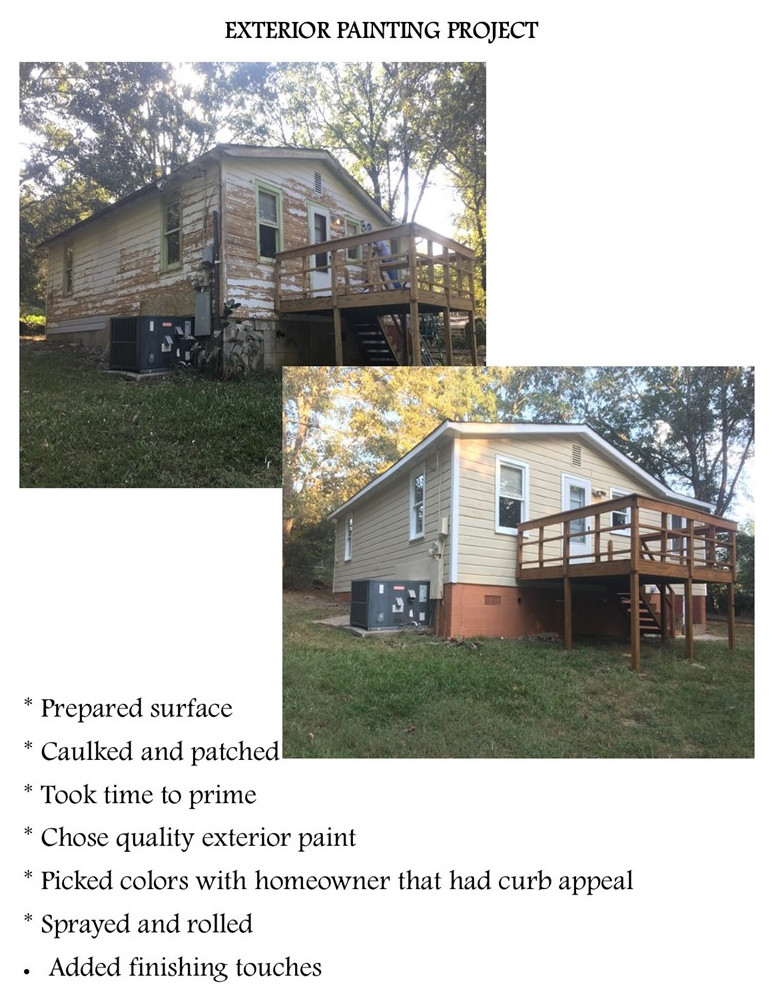 Exterior painting project before and after