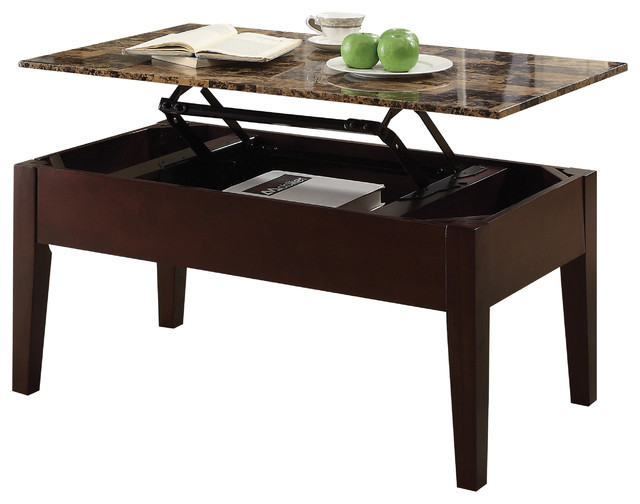 Acme Celestial Faux Marble Lift Top Coffee Table Cherry Transitional Coffee Tables By Acme Furniture