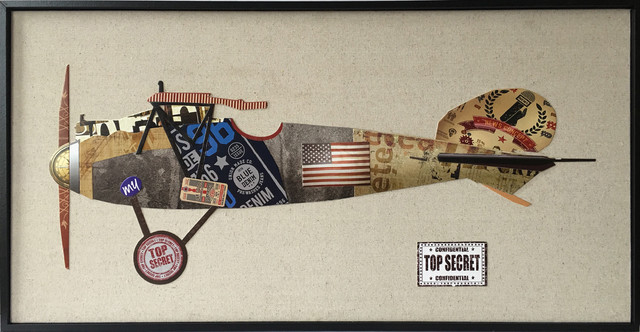 "Plane Paper Collage Wall Art, 72""x17""."