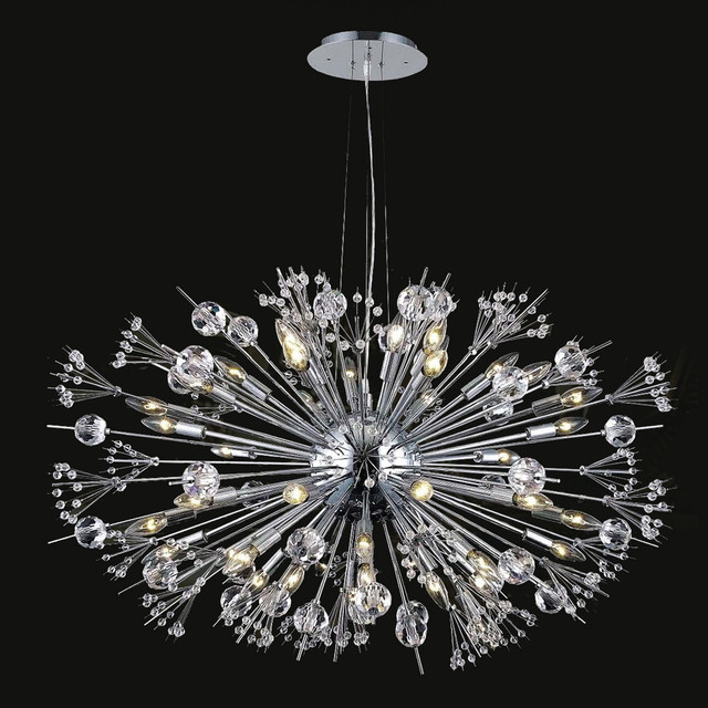 French Empire Light Chrome Finish With Clear Crystal Chandelier