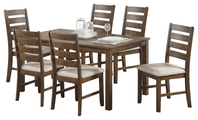 Salileo 7 Piece Casual Dining Set Weathered Light Oak