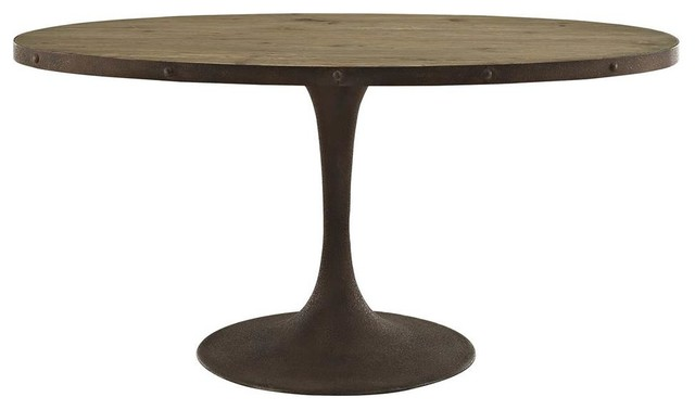 Drive 60 Oval Pine Wood Top and Iron Dining Table, Brown by LexMod