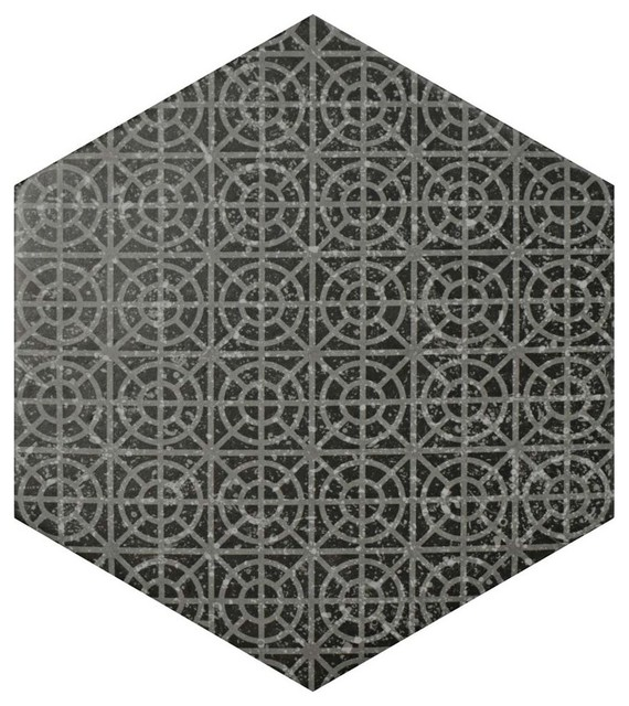 "10""x11.5"" Moonstone Hexagon Porcelain Floor/wall Tile, Set Of 9, Melange Black."
