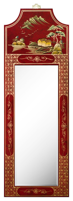 Red Wall Mirror oriental mirror with red lacquer finish and chinoiserie design