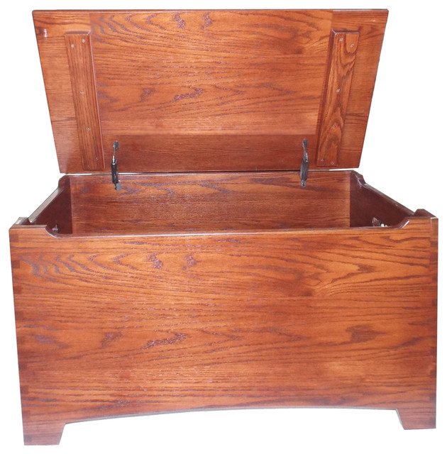 Amish Oak Large Dovetail Furniture Shaker Toy Box Chest Safety