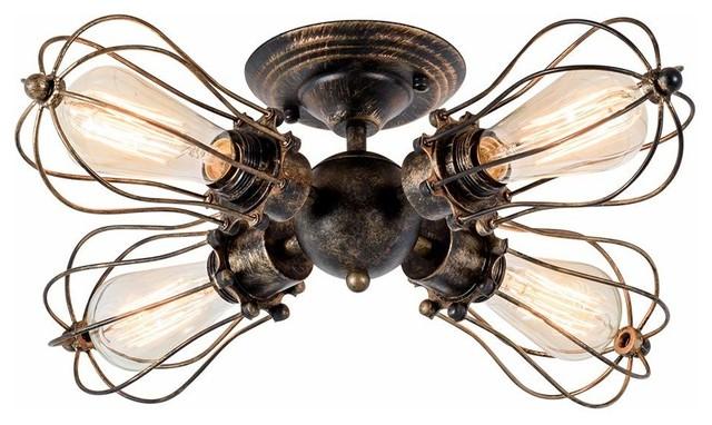 4 Light Seme Flush Mount Vintage Industrial Wire Cage Antique Ceiling Light