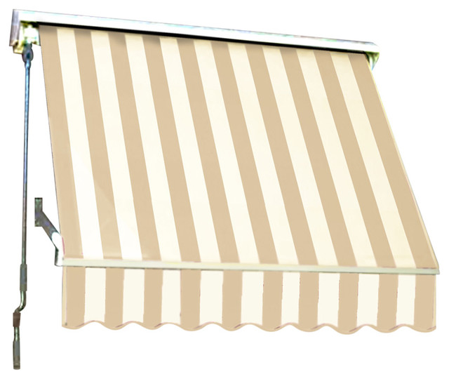"""7&x27; Mesa Window Retractable Awning, 24"""" Hx24"""" D, Linen And White."""