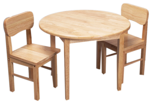 gift mark home kids natural hardwood round table and chair set natural finish - Kid Table And Chair Set