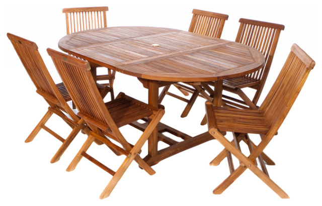7 Piece Set Teak Oval Extension Table Folding Chair Set Traditional Outdoor  Dining