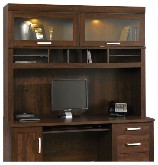 Beau Sauder Office Port Hutch In Dark Alder