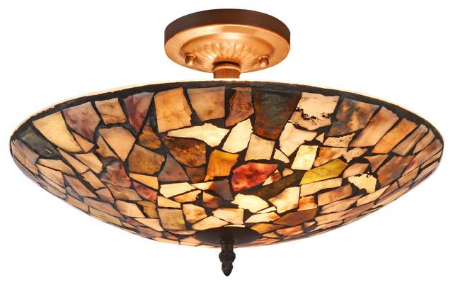 "Sandy Mosaic 2-Light Semi-Flush Ceiling Fixture 16""."