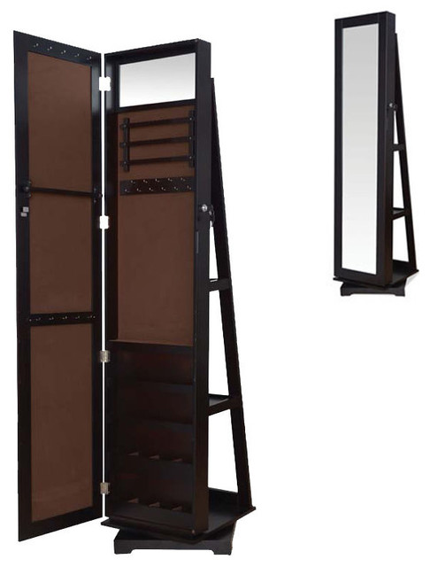Tall Espresso Brown Jewelry Armoire Wardrobe Floor Dressing Mirror ...