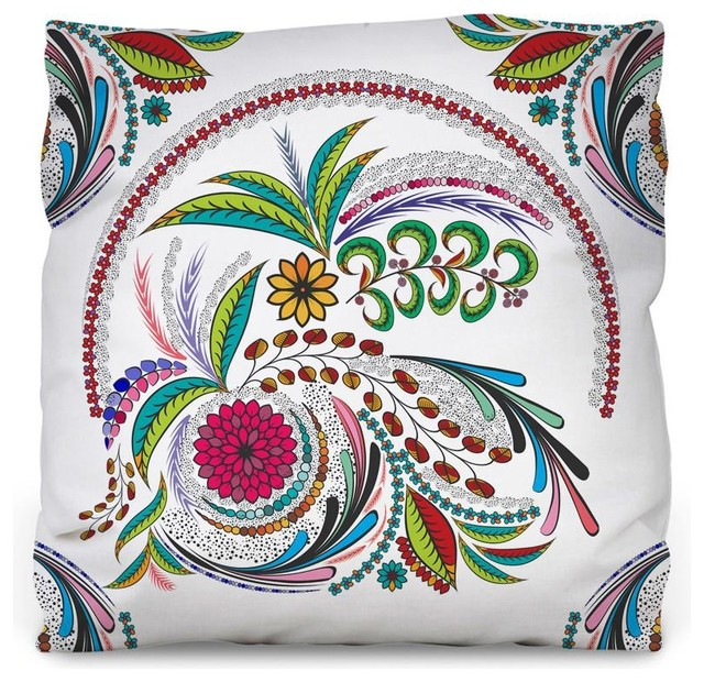Colorful Floral Outdoor Throw Pillow Contemporary Outdoor