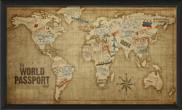 The world passport map print contemporary prints and posters the world passport map print gumiabroncs Choice Image