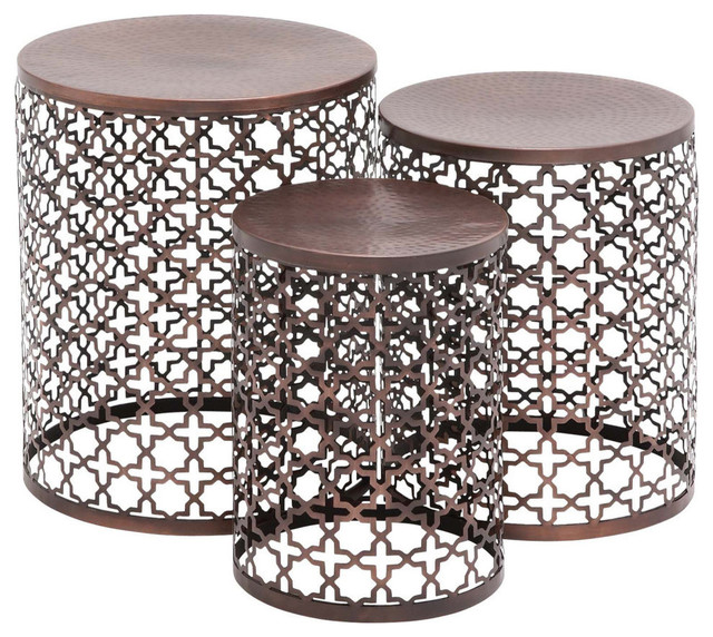 Metal Accent Table, 3 Piece Set Contemporary Coffee And Accent