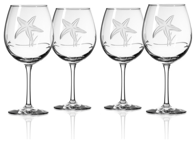 Starfish Blue Coral Stemless Hand Painted Wine Glasses Set of 2 Beach Home Decor