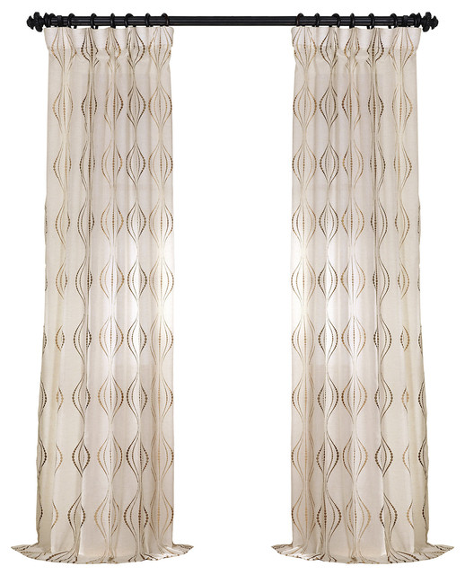 Suez Bronze Embroidered Fauxlinen Sheer Curtain Single Panel, 50x84.