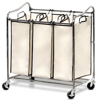 Heavy-Duty 3-Bag Laundry Sorter Cart - Contemporary - Hampers - by Brawbuy Deals