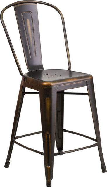 Wondrous High Distressed Metal Indoor Outdoor Counter Height Stool With Back 24 Squirreltailoven Fun Painted Chair Ideas Images Squirreltailovenorg